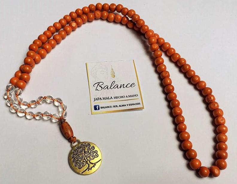 japa mala 108 cuentas de madera color naranja con cuentas de cristal transparente, cuenta gurú de madera pintada a mano, árbol color dorado