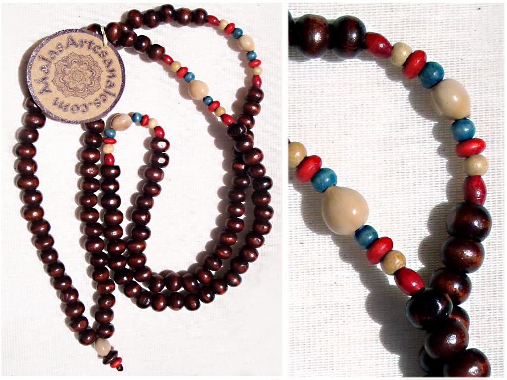 Japa mala collar grande, semillas, lagrimas de san Pedro y perlas de madera