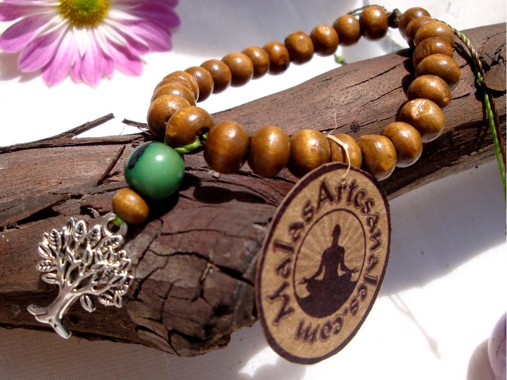 Japa mala pulsera Árbol de vida, de madera y semillas