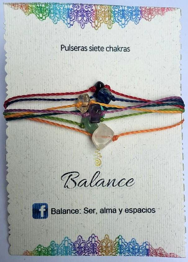 Pulsera ajustable, 7 hilos, 7 chakras, unidos en los extremos, hilo del color de cada chakra