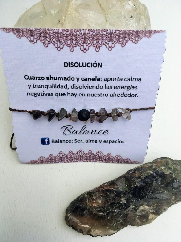 Pulsera ajustable, cuarzo ahumado, piedra volcánica, hilo café oscuro